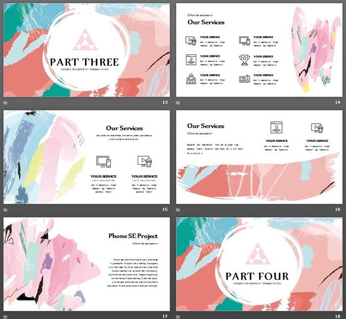 创意彩色颜料涂鸦背景艺术设计PPT模板