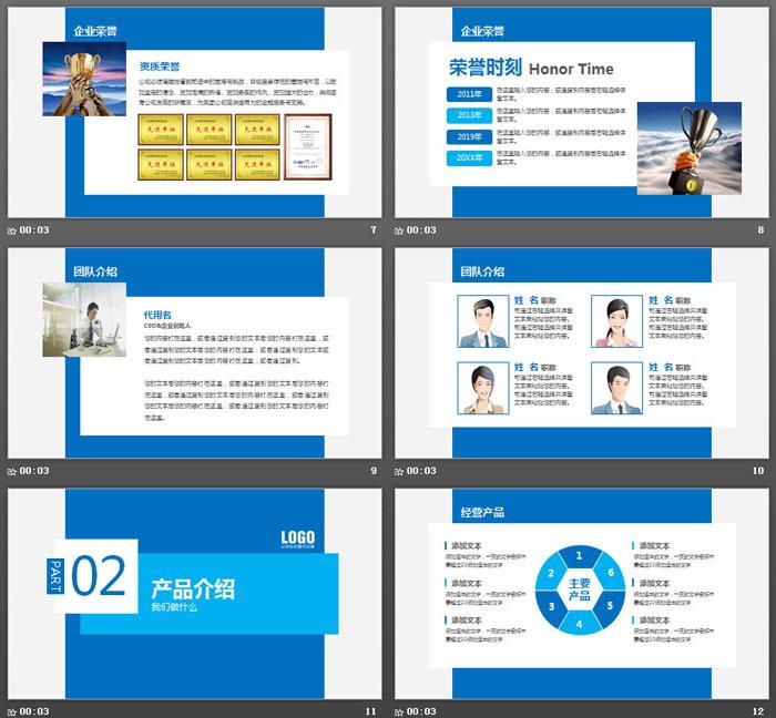 蓝色大气层次感公司介绍PPT模板