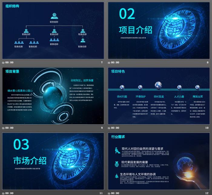 蓝色科技行业创业计划书PPT模板