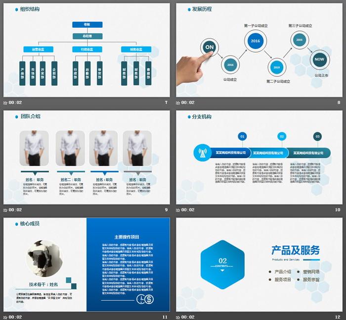 蓝色极简企业介绍PPT模板