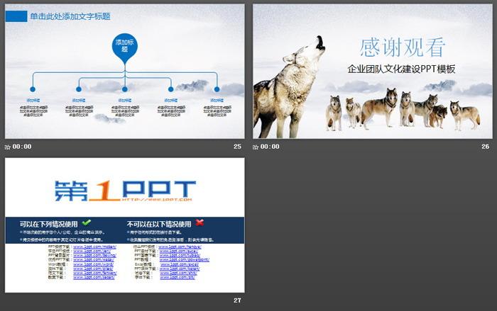 狼群背景的狼性企业文化培训PPT模板