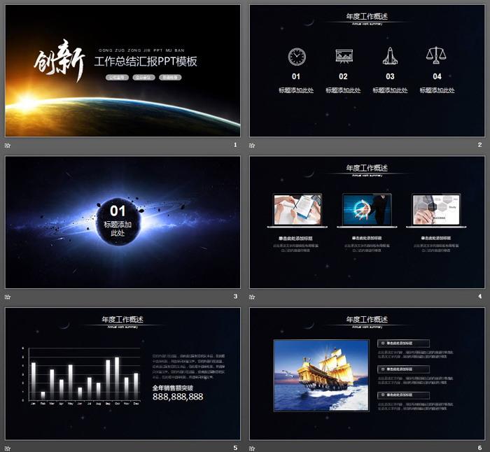 星空背景的创新主题工作总结汇报PPT模板