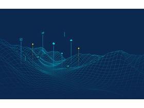 蓝色虚拟空间线条PPT背景图片