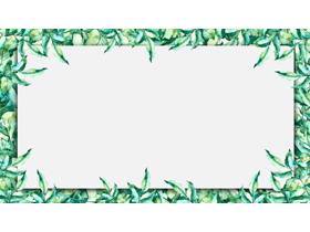 四张绿色清新植物叶子PPT背景图