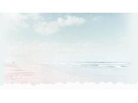 淡雅沙滩PPT背景图片