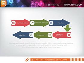 箭头结点的6数据项PPT流程图