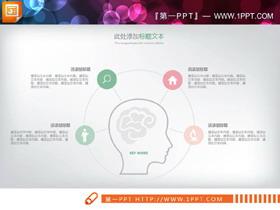 清新淡雅红绿配色PPT图表集合
