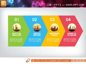四色扁平化�f�M�P系PPT�D表