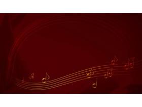 红色音乐五线谱PPT背景图片