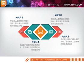 彩色微立体扩散关系PPT图表
