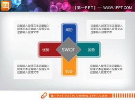 彩色扁平化swot分析PPT�D表