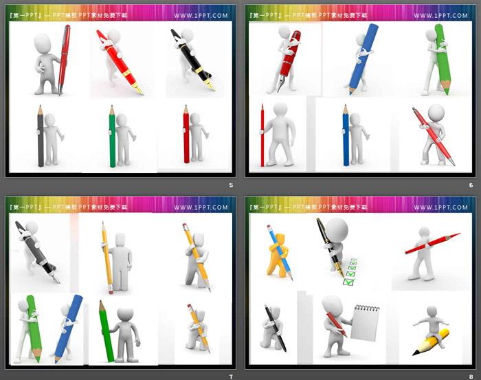 60张拿笔手写的白色3D立体小人PPT素材