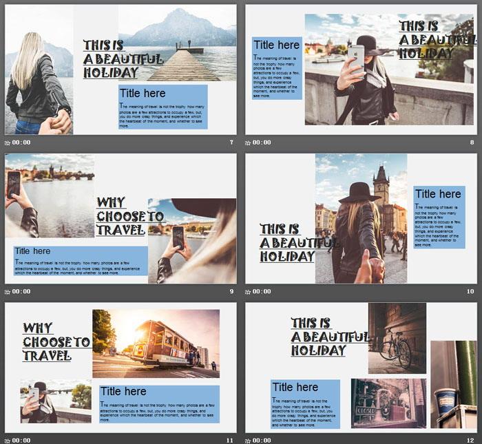 欧美风城市旅行相册PPT模板