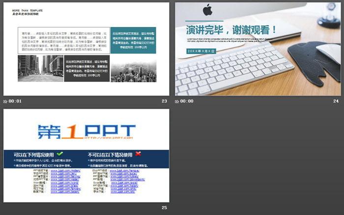 办公桌面背景的新年工作计划PPT模板