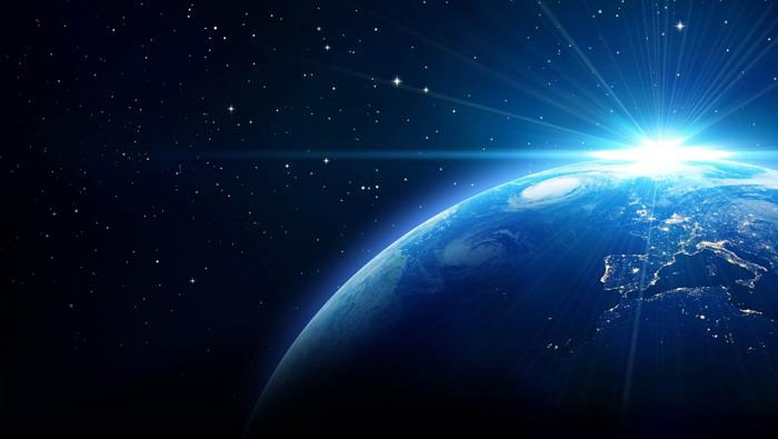 深蓝星空星球PPT背景图