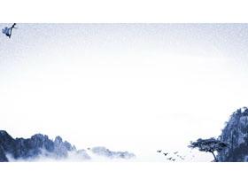 蓝色水墨山水古典中国风必发88背景图片