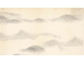 淡雅古典水墨山水PPT背景图片