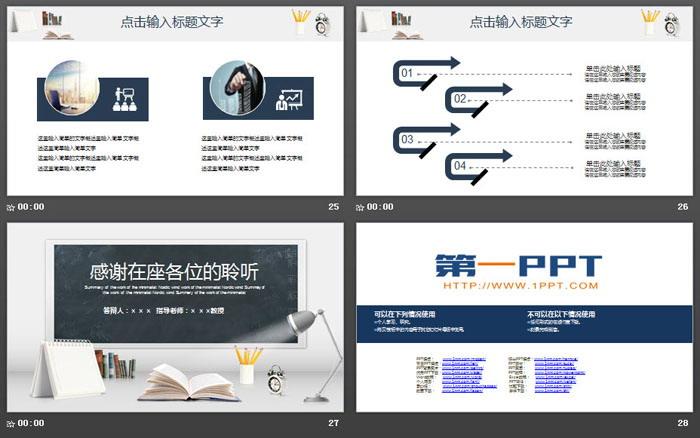 简约黑板写字台背景的开题报告PPT模板