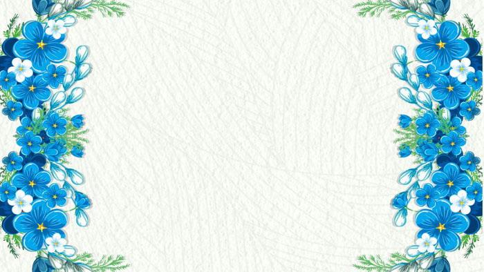 四张蓝色韩范花卉PPT背景图片
