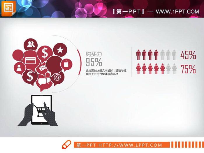 男女消费能力对比PPT图表