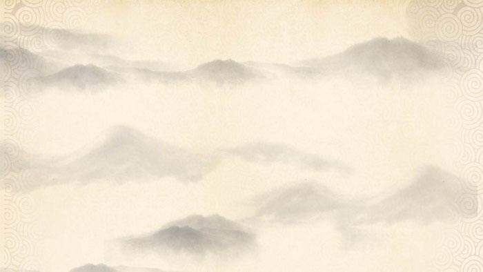 淡雅古典水墨山水PPT背景�D片
