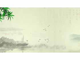 古典水墨竹子小船必发88背景图片
