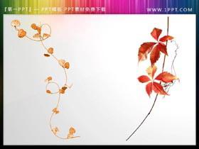 12��植物枝�~PPT插�D素材