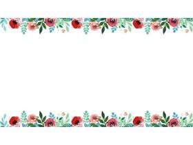 三��水彩花卉PPT背景�D片