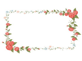 清新韩范花卉边框PPT背景图
