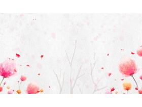 ��B唯美水彩花卉PPT背景�D片