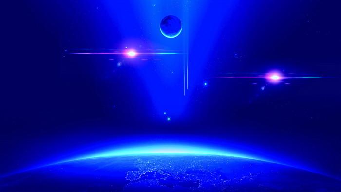 五张蓝色地球曲度商务PPT背景图片