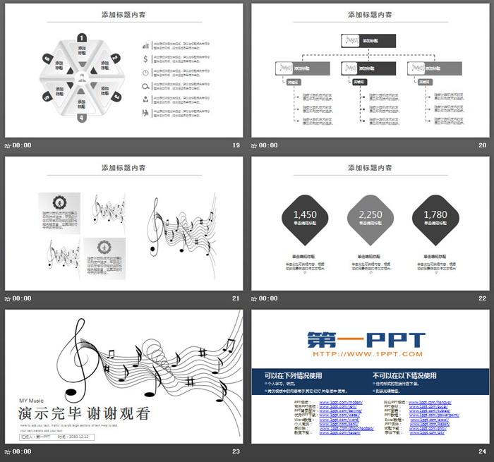 简洁音符背景的音乐主题PPT模板