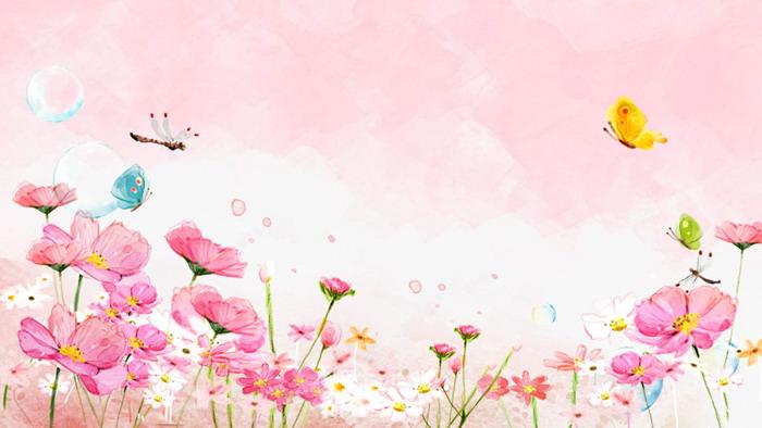 粉色唯美水彩蝴蝶蜻蜓花卉PPT背景�D片
