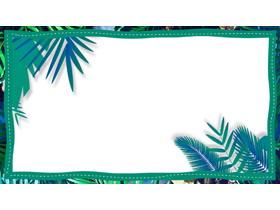 三���G色植物�~子�框PPT背景�D片