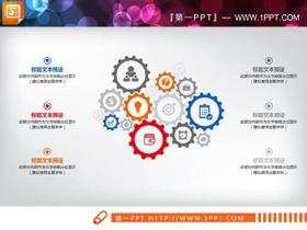 一组15齿轮联动关系PPT图表