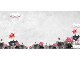 水墨荷花莲花PPT背景图片