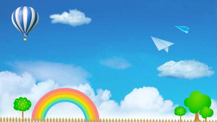 卡通蓝天白云彩虹PPT背景图片