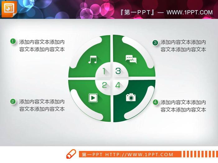 18张绿色白底微立体PPT图表