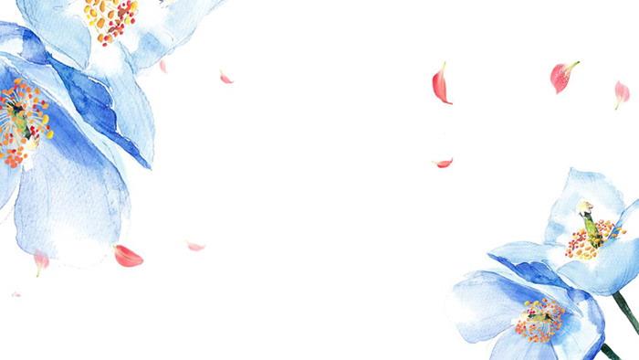 蓝色唯美水彩花卉PPT背景图片