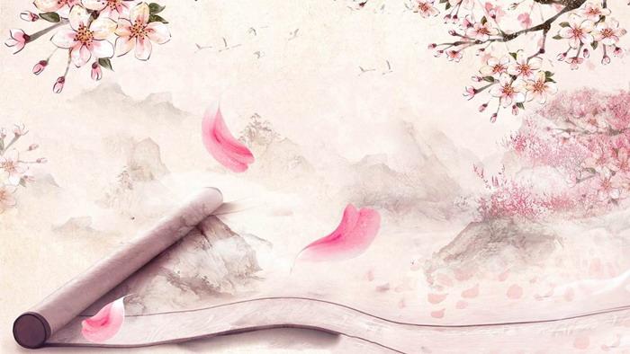 粉色唯美桃花PPT背景�D片