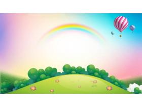 卡通彩虹森林热气球必发88背景图片
