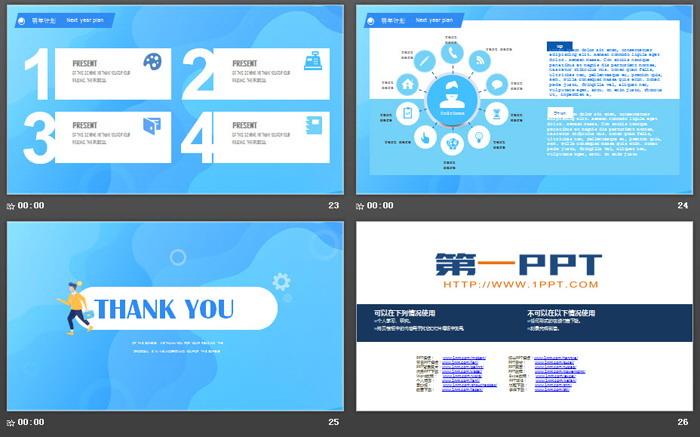 蓝色扁平化工作总结报告PPT模板