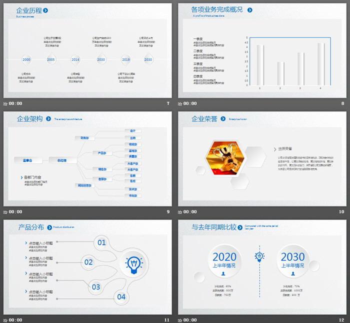 极简白色六边形工作总结计划PPT模板