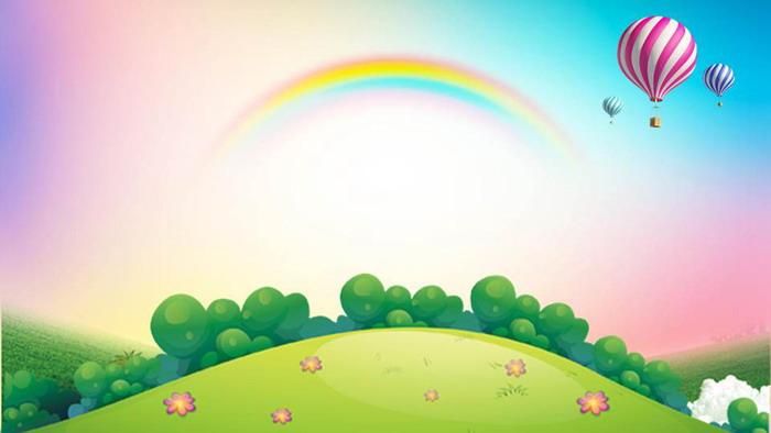 卡通彩虹森林��馇�PPT背景�D片