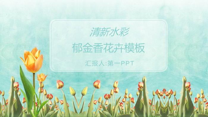清新水彩郁金香PPT模板