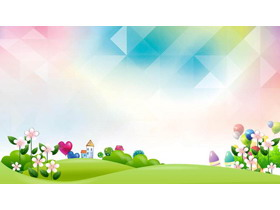 彩色可爱卡通儿童PPT背景图片