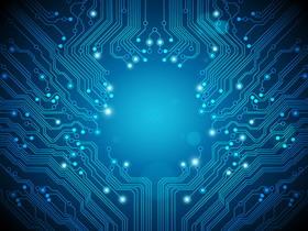 三张高清蓝色点线电子线路PPT背景图片
