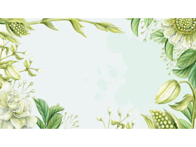 ����G色水彩植物PPT背景�D片