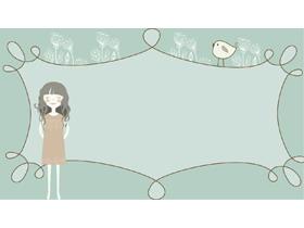 唯美卡通手绘女孩植物PPT背景图片