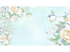 三��唯美水彩花卉PPT背景�D片